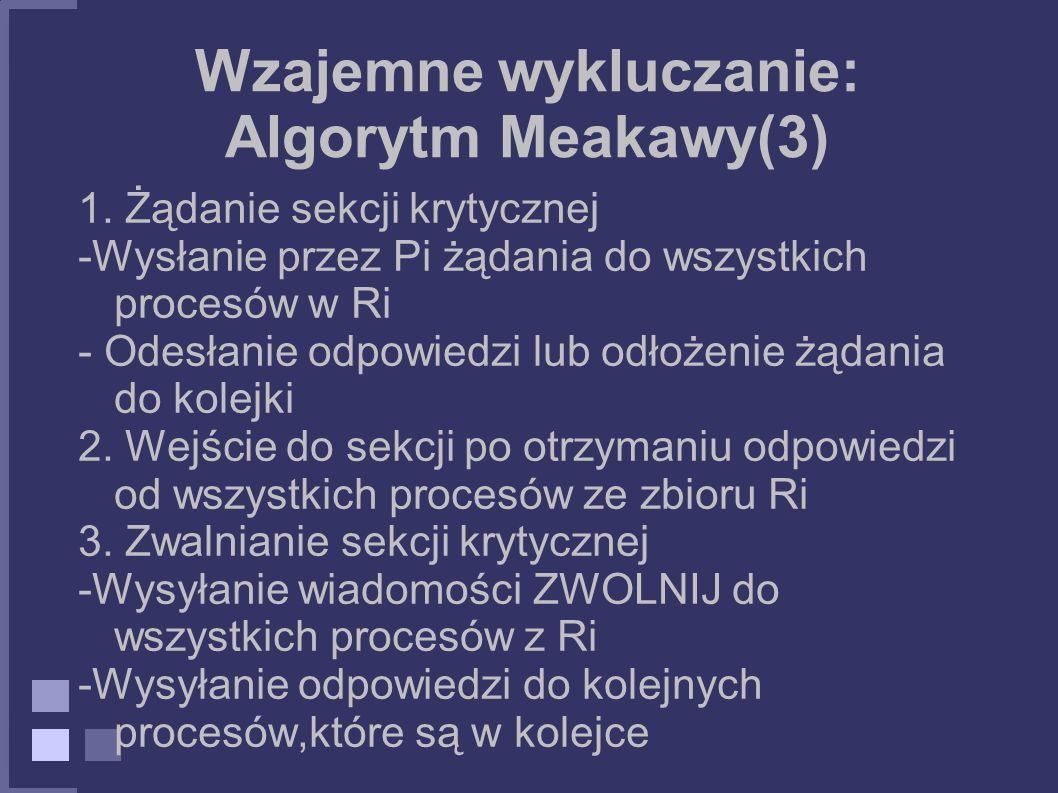 Wzajemne wykluczanie: Algorytm Meakawy(3) 1. Żądanie sekcji krytycznej -Wysłanie przez Pi żądania do wszystkich procesów w Ri - Odesłanie odpowiedzi l