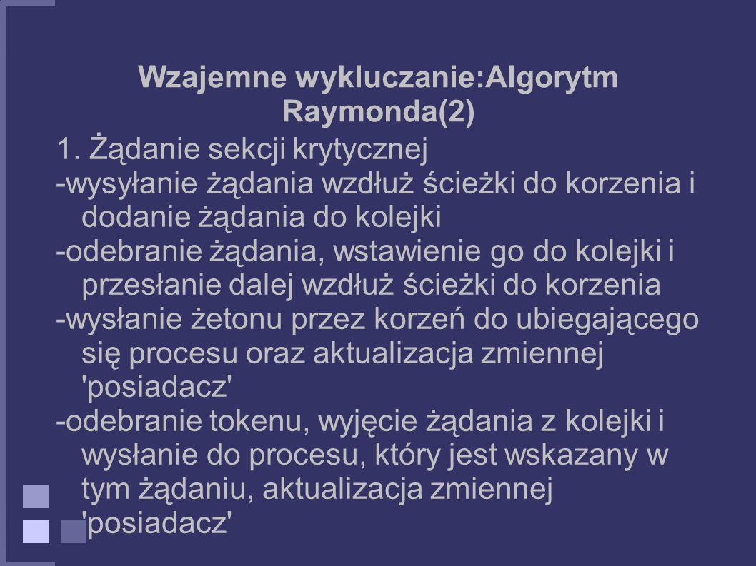 Wzajemne wykluczanie:Algorytm Raymonda(2) 1. Żądanie sekcji krytycznej -wysyłanie żądania wzdłuż ścieżki do korzenia i dodanie żądania do kolejki -ode