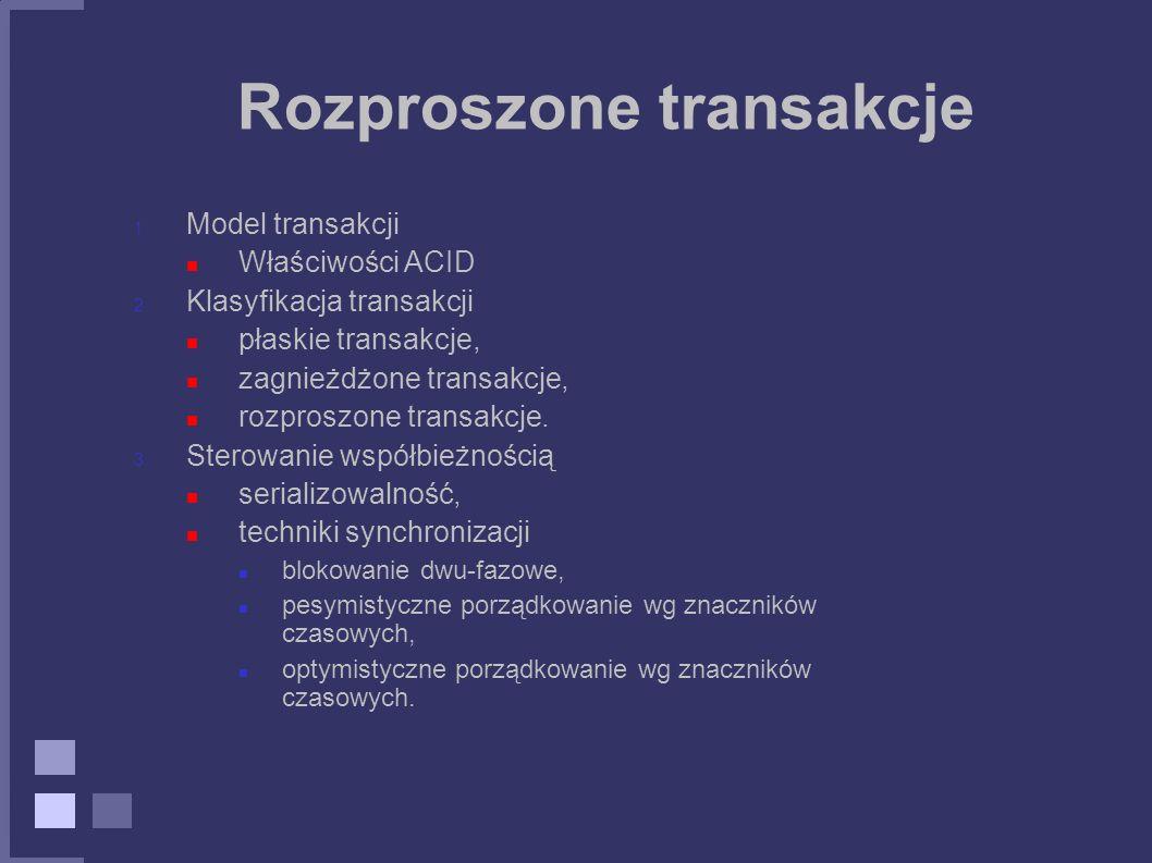 Rozproszone transakcje 1. Model transakcji Właściwości ACID 2. Klasyfikacja transakcji płaskie transakcje, zagnieżdżone transakcje, rozproszone transa