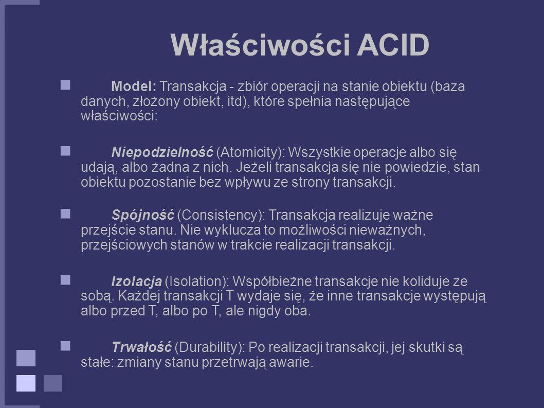 Właściwości ACID Model: Transakcja - zbiór operacji na stanie obiektu (baza danych, złożony obiekt, itd), które spełnia następujące właściwości: Niepo