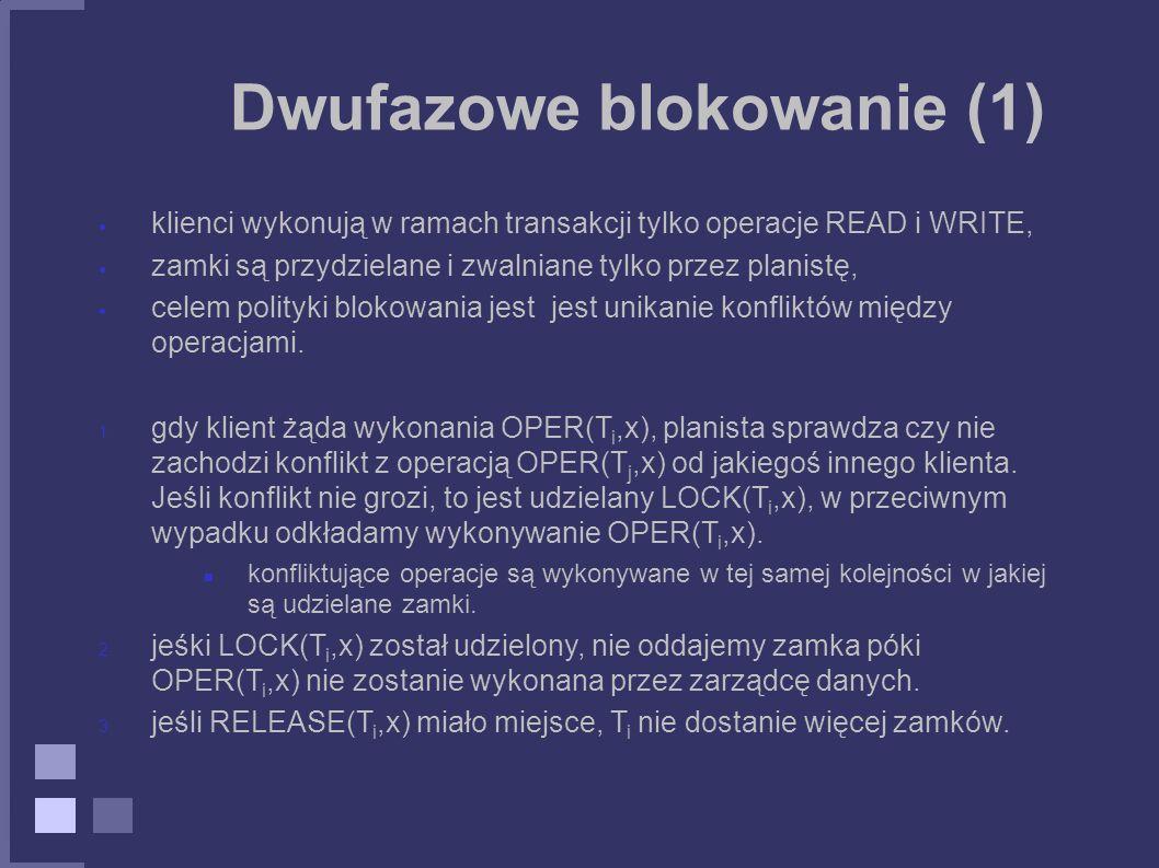 Dwufazowe blokowanie (1) klienci wykonują w ramach transakcji tylko operacje READ i WRITE, zamki są przydzielane i zwalniane tylko przez planistę, cel