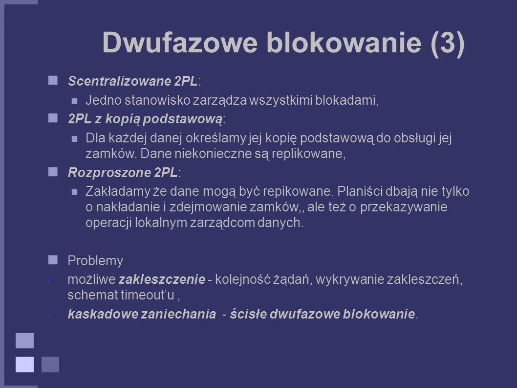 Dwufazowe blokowanie (3) Scentralizowane 2PL: Jedno stanowisko zarządza wszystkimi blokadami, 2PL z kopią podstawową: Dla każdej danej określamy jej k