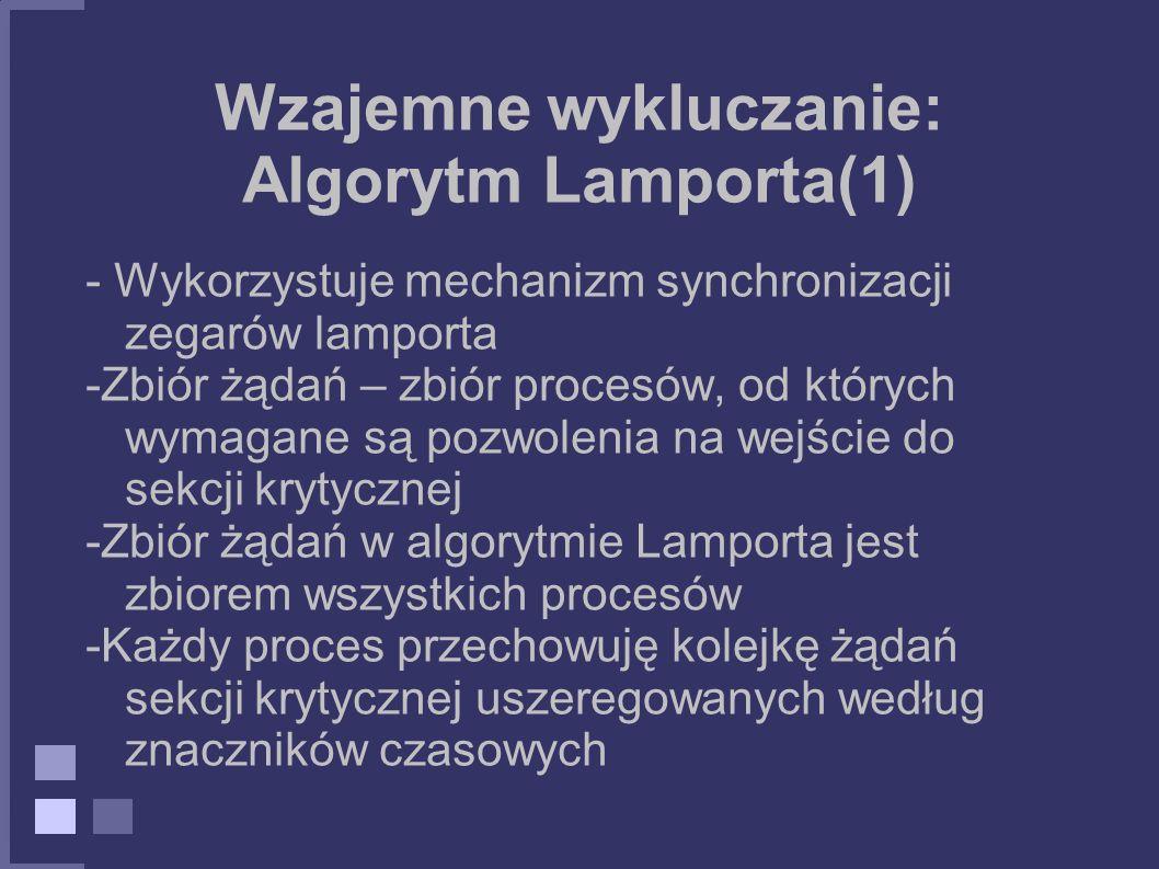 Wzajemne wykluczanie: Algorytm Lamporta(1) - Wykorzystuje mechanizm synchronizacji zegarów lamporta -Zbiór żądań – zbiór procesów, od których wymagane