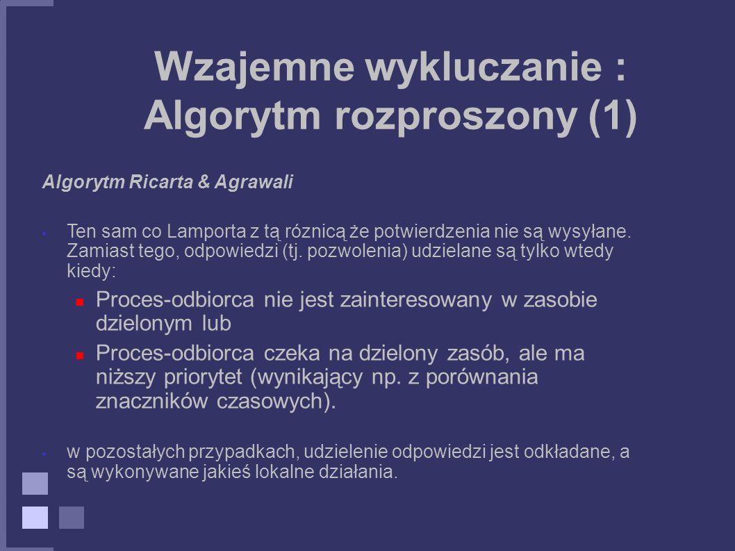 Wzajemne wykluczanie : Algorytm rozproszony (1) Algorytm Ricarta & Agrawali Ten sam co Lamporta z tą róznicą że potwierdzenia nie są wysyłane. Zamiast