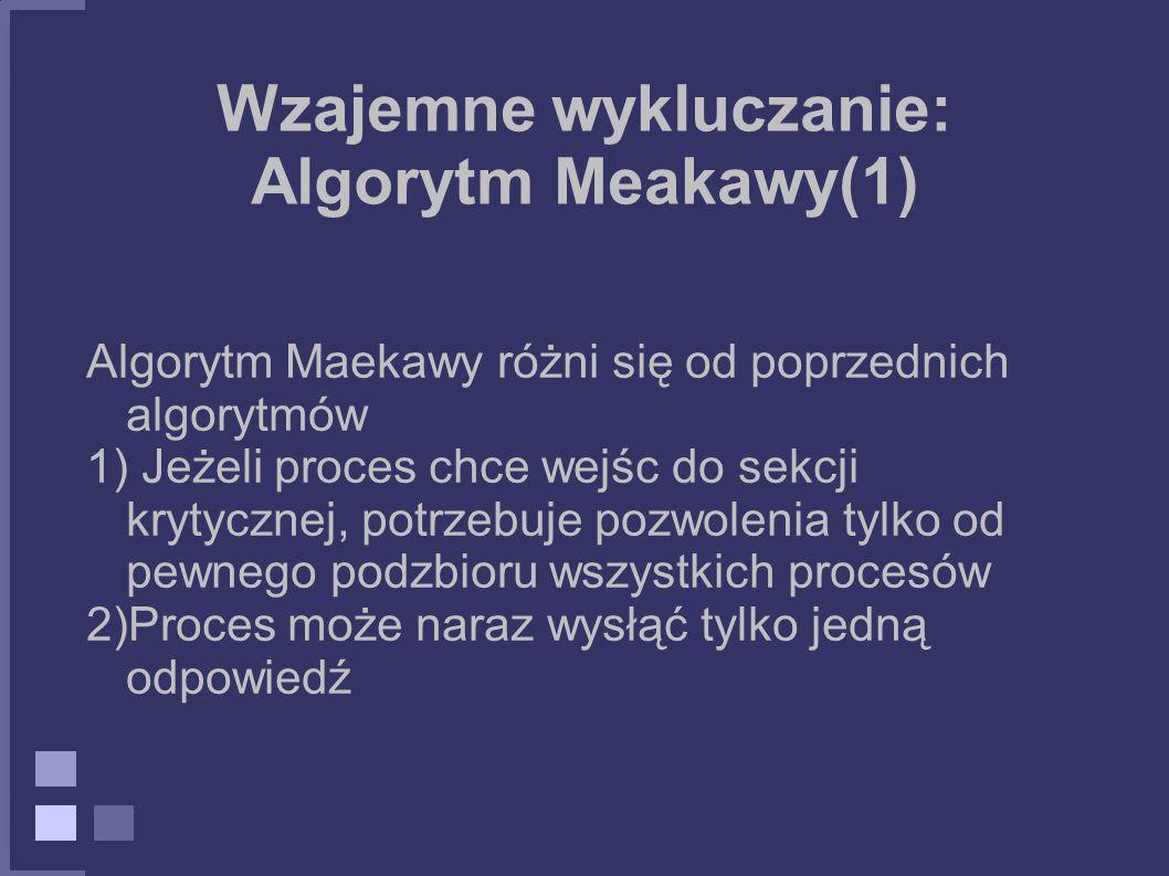 Wzajemne wykluczanie: Algorytm Meakawy(1) Algorytm Maekawy różni się od poprzednich algorytmów 1) Jeżeli proces chce wejśc do sekcji krytycznej, potrz