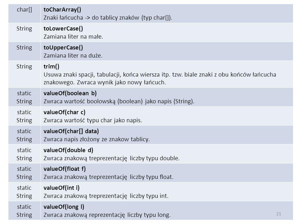 char[]toCharArray() Znaki łańcucha -> do tablicy znaków (typ char[]). StringtoLowerCase() Zamiana liter na małe. StringtoUpperCase() Zamiana liter na
