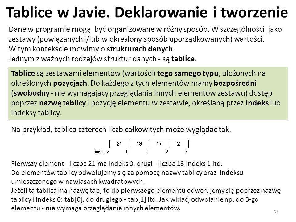 Tablice w Javie. Deklarowanie i tworzenie Dane w programie mogą być organizowane w różny sposób. W szczególności jako zestawy (powiązanych i/lub w okr