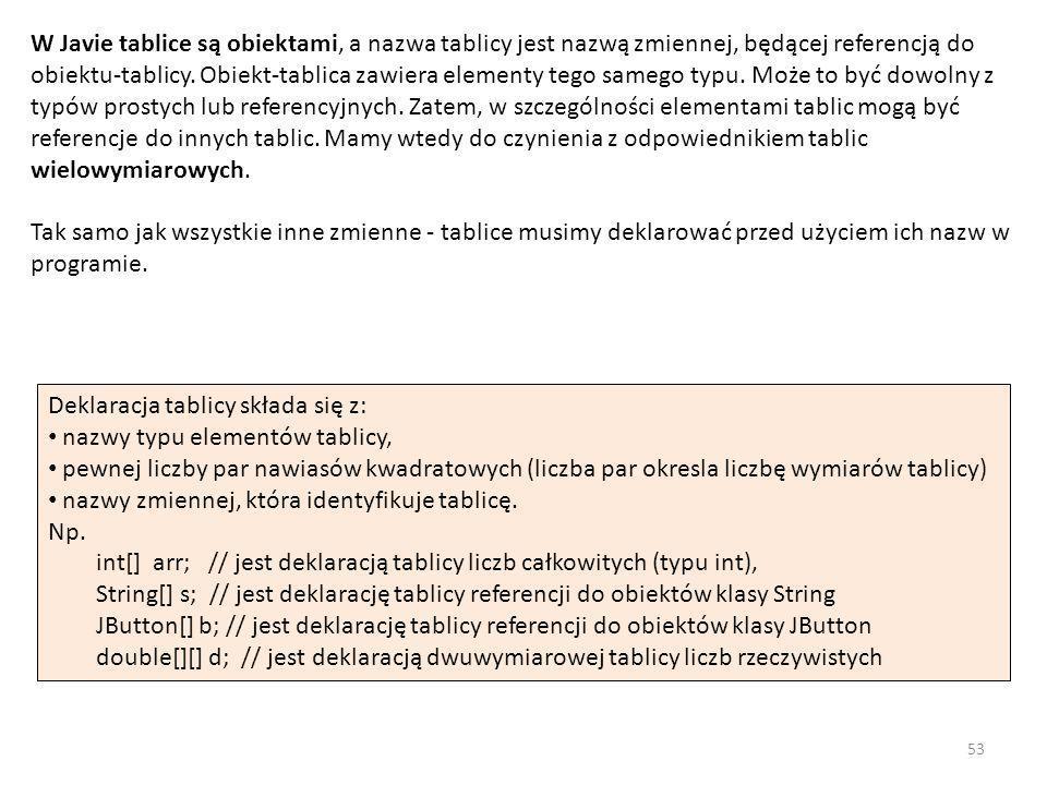 W Javie tablice są obiektami, a nazwa tablicy jest nazwą zmiennej, będącej referencją do obiektu-tablicy. Obiekt-tablica zawiera elementy tego samego