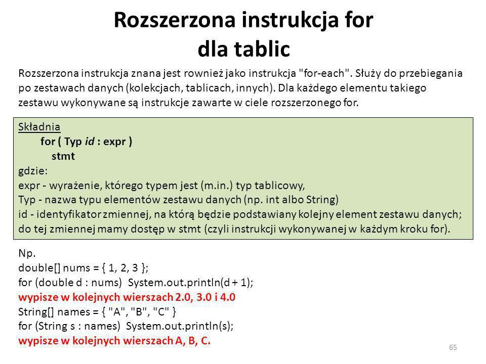 Rozszerzona instrukcja for dla tablic Rozszerzona instrukcja znana jest rownież jako instrukcja