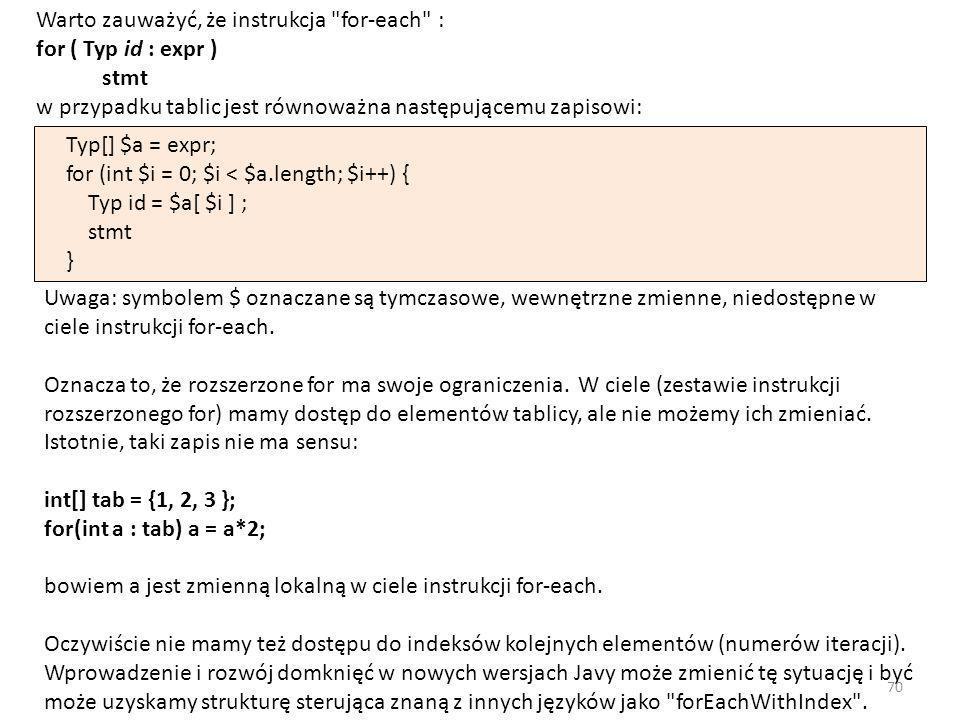 Warto zauważyć, że instrukcja for-each : for ( Typ id : expr ) stmt w przypadku tablic jest równoważna następującemu zapisowi: Typ[] $a = expr; for (int $i = 0; $i < $a.length; $i++) { Typ id = $a[ $i ] ; stmt } Uwaga: symbolem $ oznaczane są tymczasowe, wewnętrzne zmienne, niedostępne w ciele instrukcji for-each.