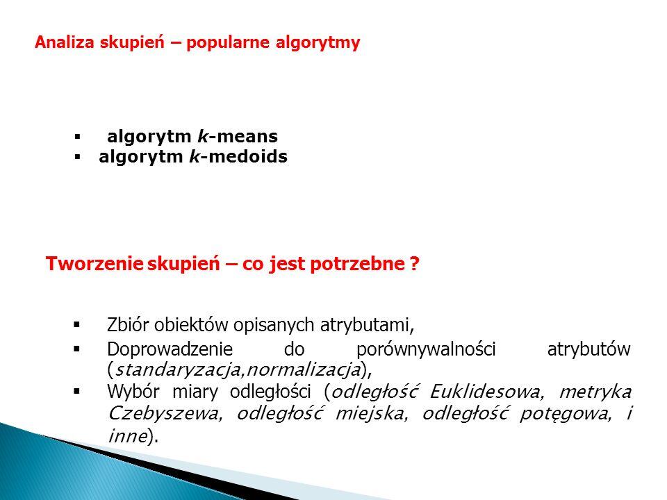 Zbiór obiektów opisanych atrybutami, Doprowadzenie do porównywalności atrybutów ( standaryzacja,normalizacja ), Wybór miary odległości ( odległość Euk