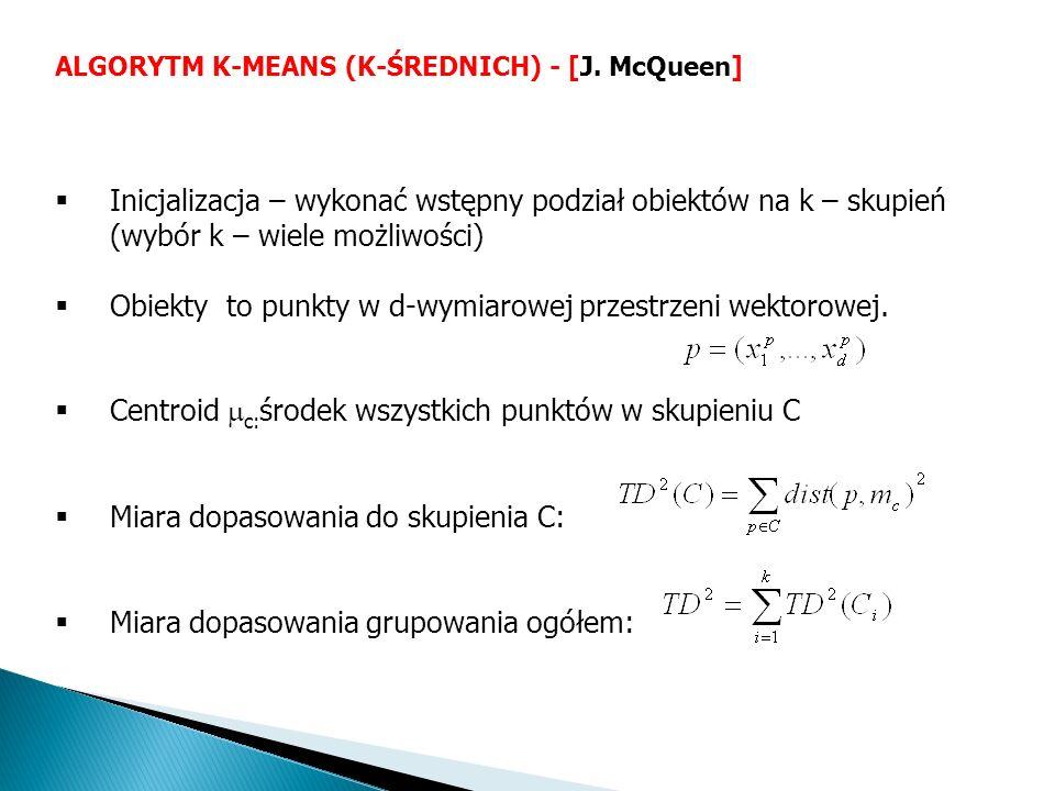 Inicjalizacja – wykonać wstępny podział obiektów na k – skupień (wybór k – wiele możliwości) Obiekty to punkty w d-wymiarowej przestrzeni wektorowej.