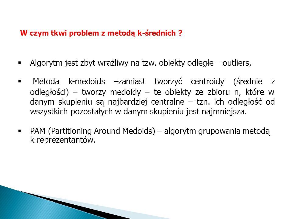 Algorytm jest zbyt wrażliwy na tzw. obiekty odległe – outliers, Metoda k-medoids –zamiast tworzyć centroidy (średnie z odległości) – tworzy medoidy –