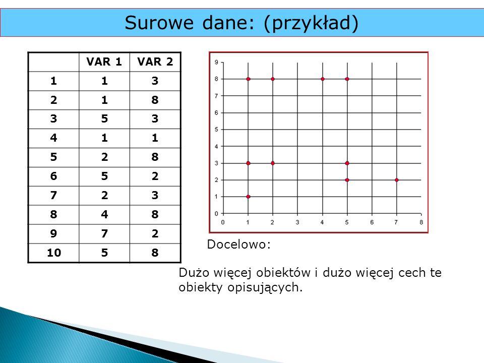 Surowe dane: (przykład) VAR 1VAR 2 113 218 353 411 528 652 723 848 972 1058 Docelowo: Dużo więcej obiektów i dużo więcej cech te obiekty opisujących.
