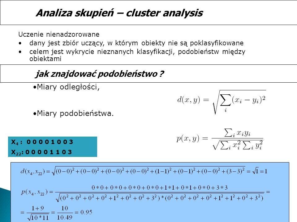 Uczenie nienadzorowane dany jest zbiór uczący, w którym obiekty nie są poklasyfikowane celem jest wykrycie nieznanych klasyfikacji, podobieństw między