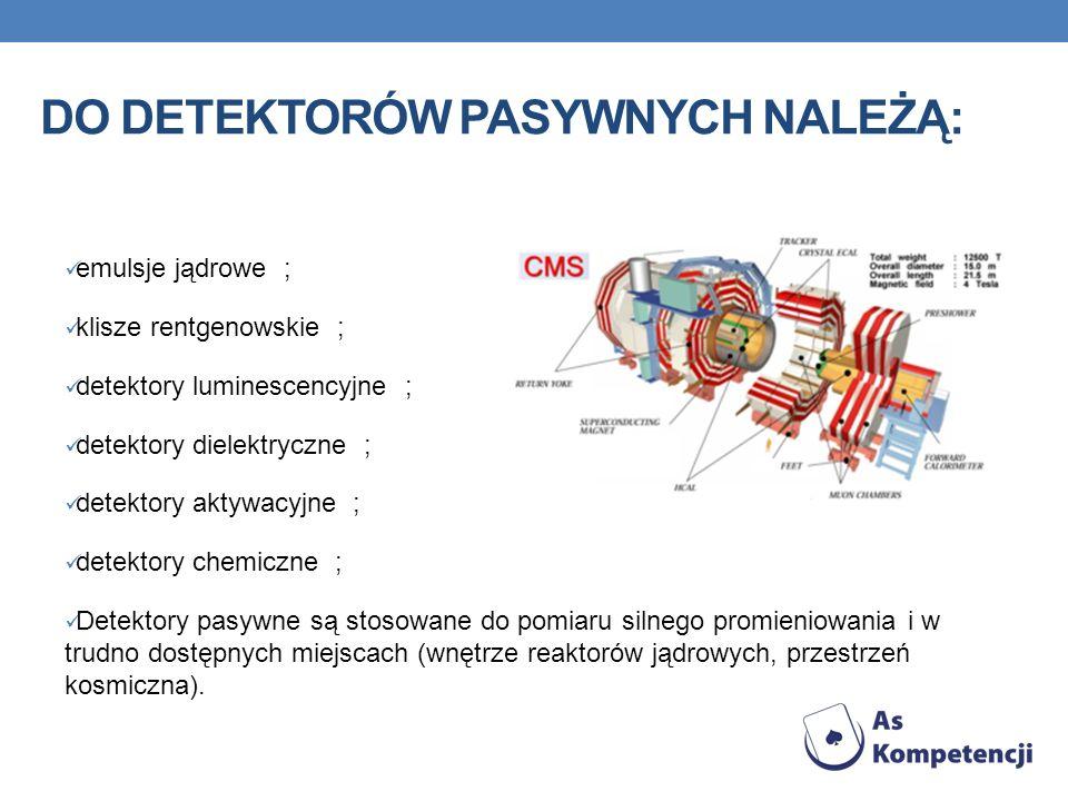 DO DETEKTORÓW PASYWNYCH NALEŻĄ: emulsje jądrowe ; klisze rentgenowskie ; detektory luminescencyjne ; detektory dielektryczne ; detektory aktywacyjne ; detektory chemiczne ; Detektory pasywne są stosowane do pomiaru silnego promieniowania i w trudno dostępnych miejscach (wnętrze reaktorów jądrowych, przestrzeń kosmiczna).