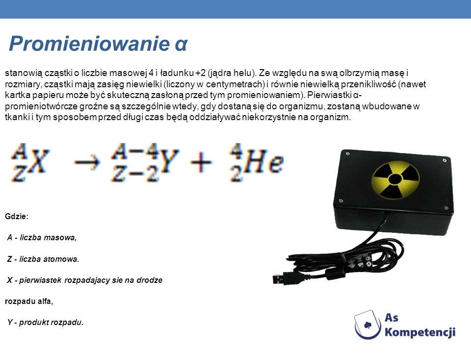 Promieniowanie α stanowią cząstki o liczbie masowej 4 i ładunku +2 (jądra helu). Ze względu na swą olbrzymią masę i rozmiary, cząstki mają zasięg niew