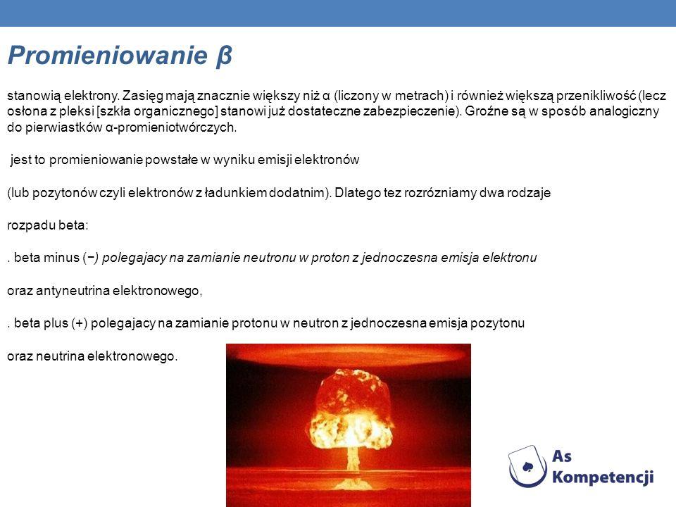 Promieniowanie β stanowią elektrony.