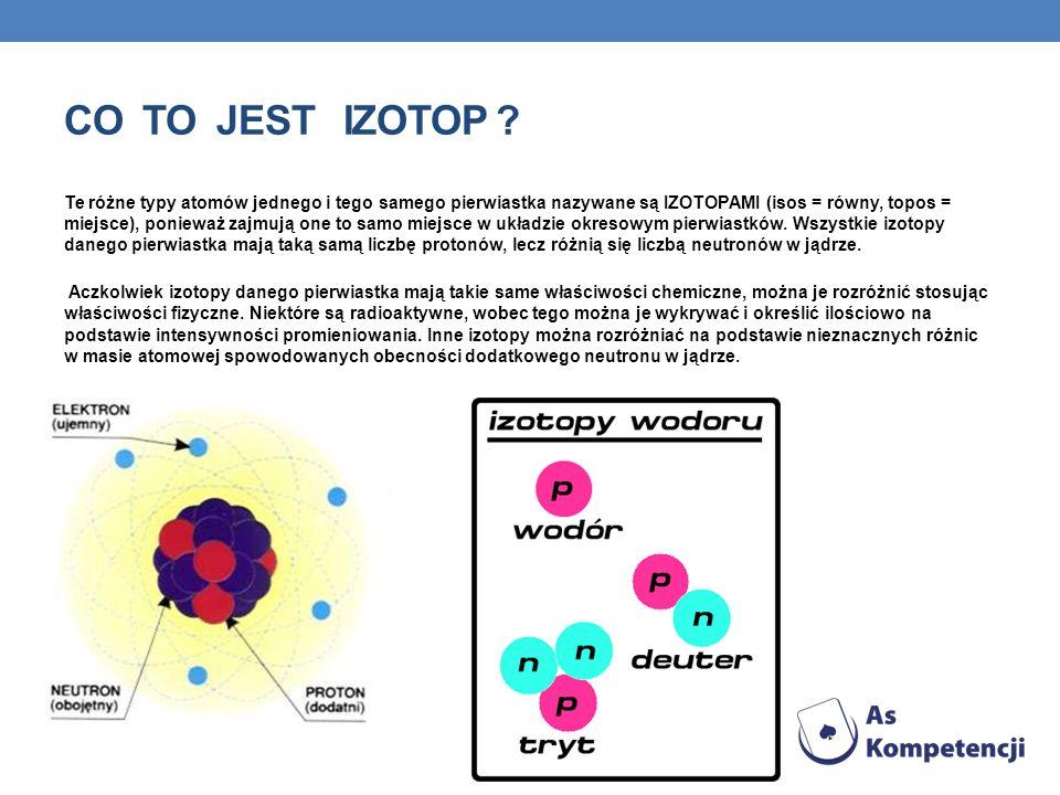 CO TO JEST IZOTOP ? Te różne typy atomów jednego i tego samego pierwiastka nazywane są IZOTOPAMI (isos = równy, topos = miejsce), ponieważ zajmują one