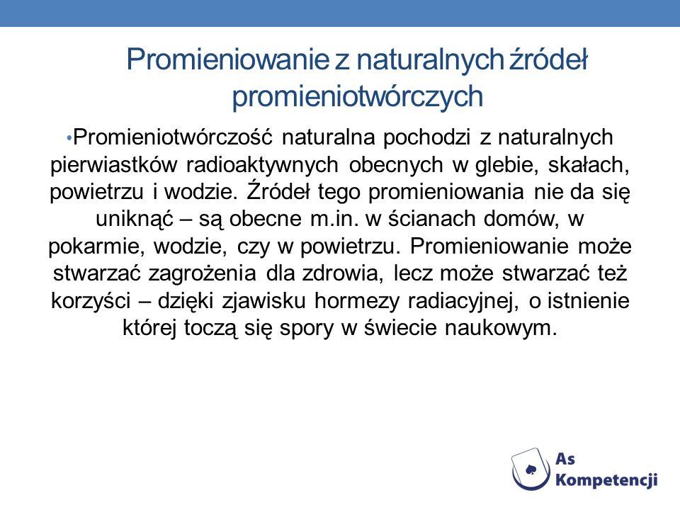 Promieniowanie z naturalnych źródeł promieniotwórczych Promieniotwórczość naturalna pochodzi z naturalnych pierwiastków radioaktywnych obecnych w gleb