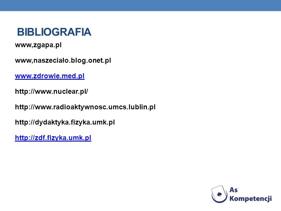 BIBLIOGRAFIA www,zgapa.pl www,naszeciało.blog.onet.pl www.zdrowie.med.pl http://www.nuclear.pl/ http://www.radioaktywnosc.umcs.lublin.pl http://dydaktyka.fizyka.umk.pl http://zdf.fizyka.umk.pl
