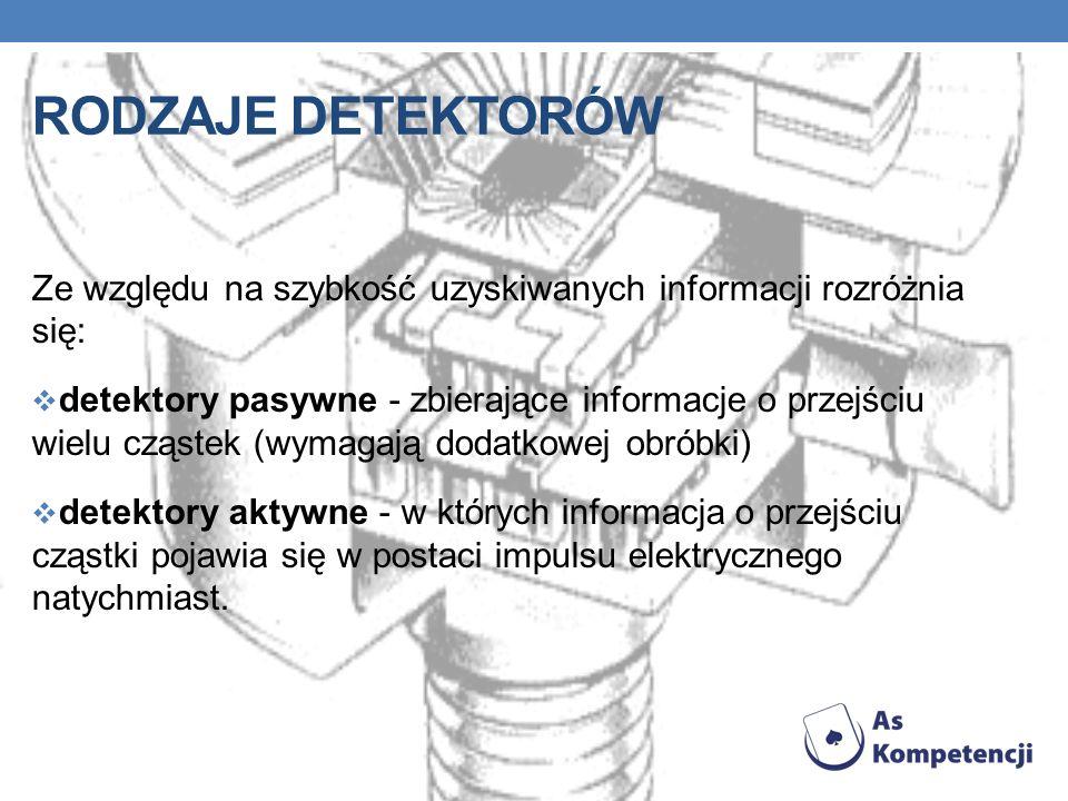 RODZAJE DETEKTORÓW Ze względu na szybkość uzyskiwanych informacji rozróżnia się: detektory pasywne - zbierające informacje o przejściu wielu cząstek (wymagają dodatkowej obróbki) detektory aktywne - w których informacja o przejściu cząstki pojawia się w postaci impulsu elektrycznego natychmiast.