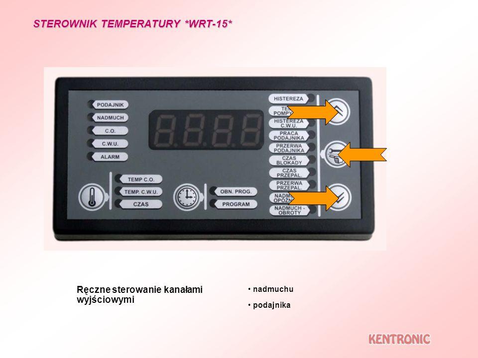 STEROWNIK TEMPERATURY *WRT-15* Ręczne sterowanie kanałami wyjściowymi podajnika nadmuchu