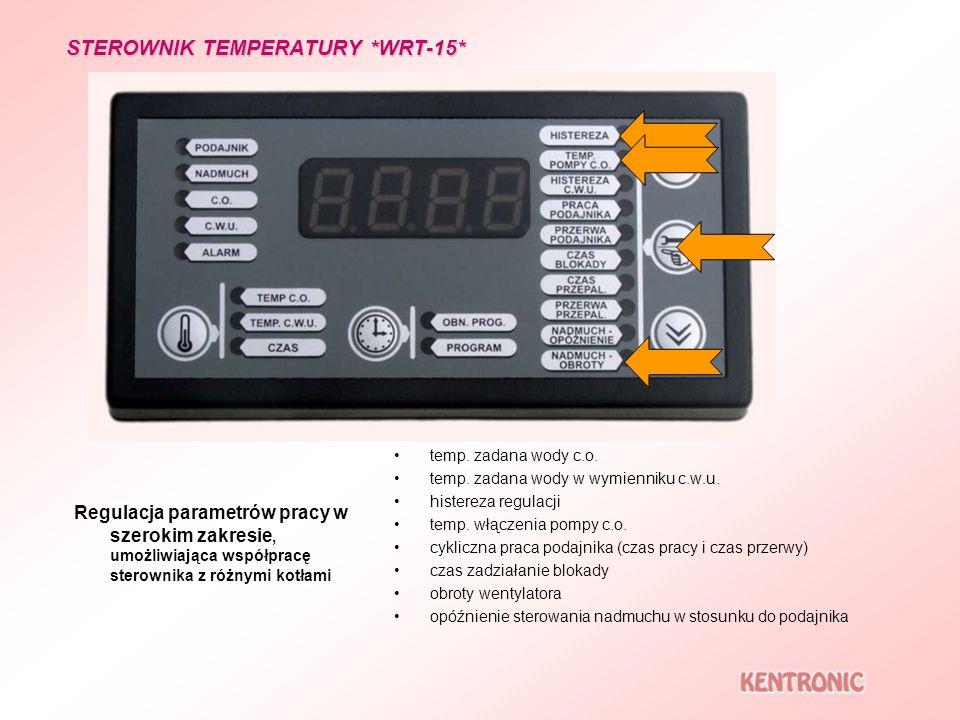Regulacja parametrów pracy w szerokim zakresie, umożliwiająca współpracę sterownika z różnymi kotłami temp. zadana wody c.o. temp. zadana wody w wymie