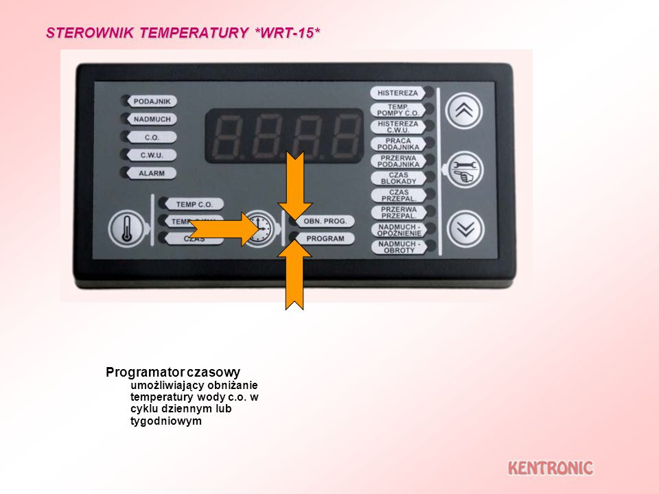 Programator czasowy umożliwiający obniżanie temperatury wody c.o. w cyklu dziennym lub tygodniowym