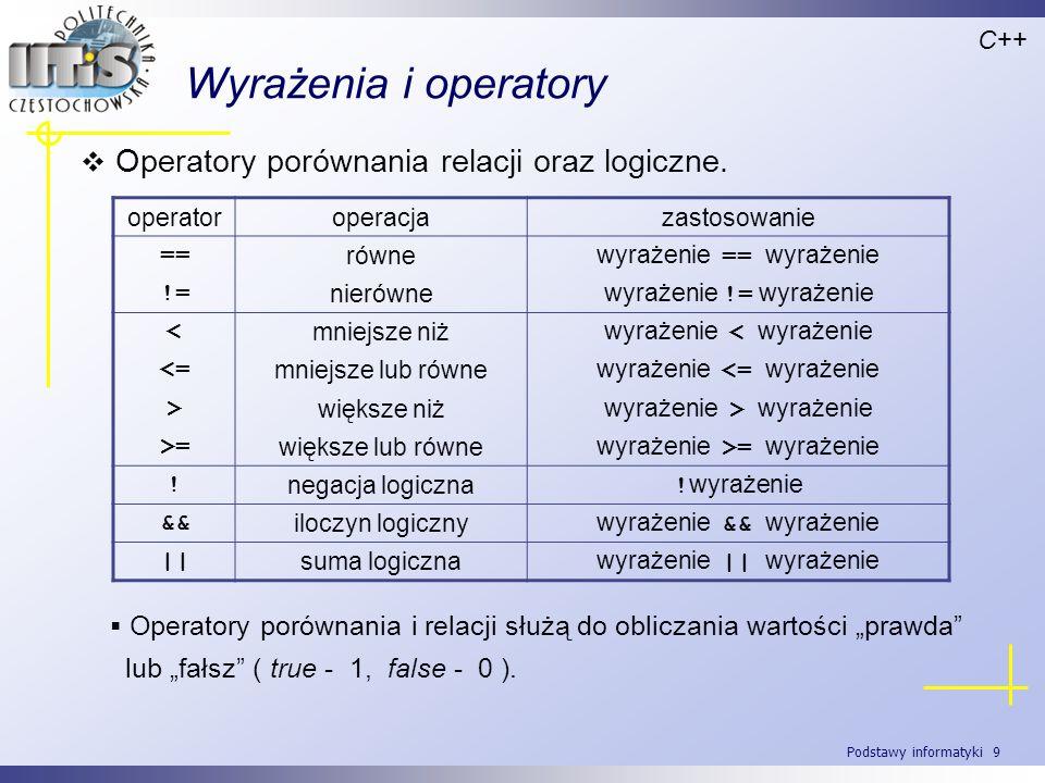 Podstawy informatyki 9 Wyrażenia i operatory Operatory porównania relacji oraz logiczne. C++ operatoroperacjazastosowanie == równe wyrażenie == wyraże