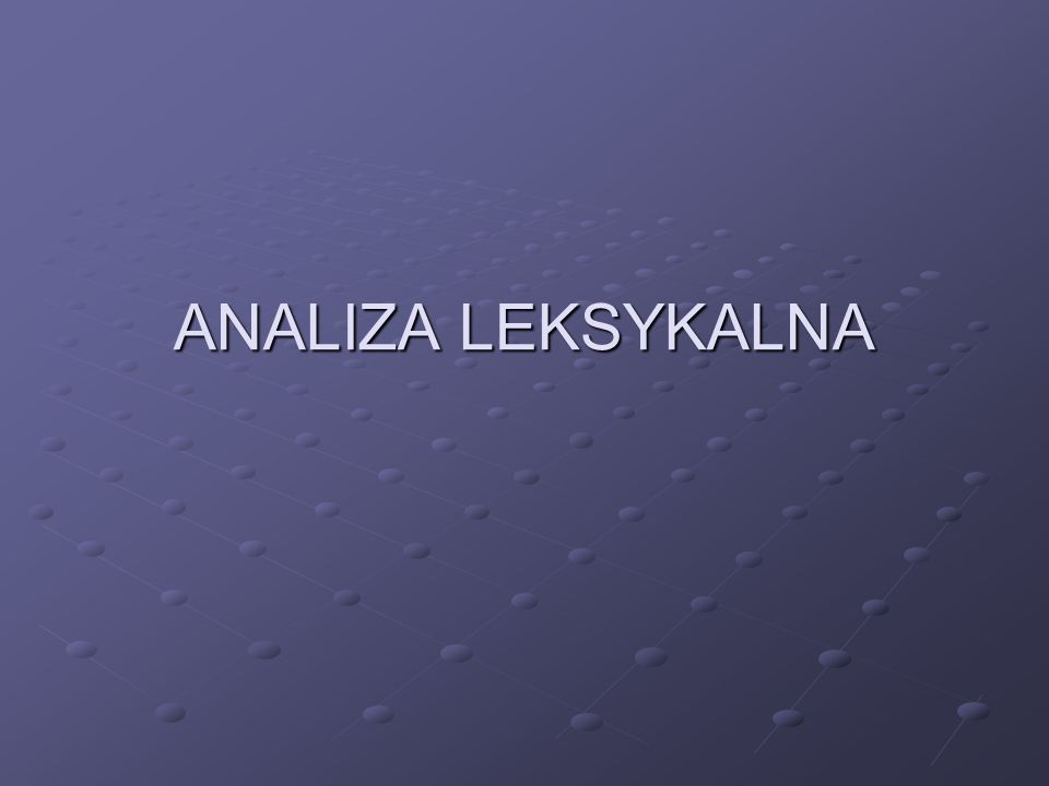 ANALIZA LEKSYKALNA