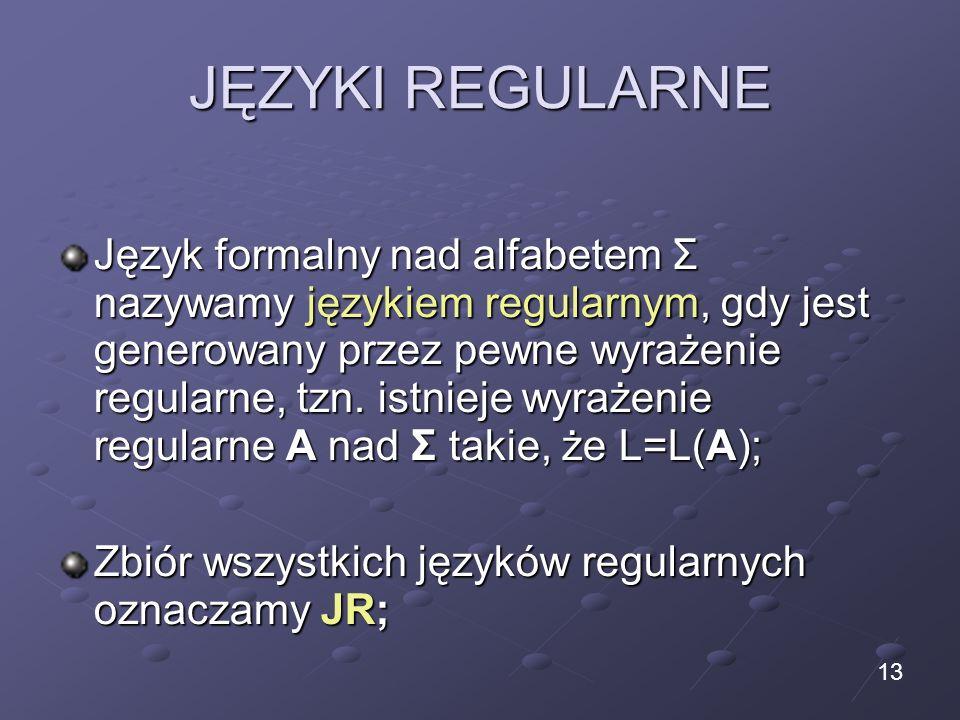 JĘZYKI REGULARNE Język formalny nad alfabetem Σ nazywamy językiem regularnym, gdy jest generowany przez pewne wyrażenie regularne, tzn. istnieje wyraż