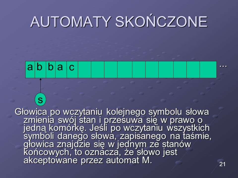 AUTOMATY SKOŃCZONE... Głowica po wczytaniu kolejnego symbolu słowa zmienia swój stan i przesuwa się w prawo o jedną komórkę. Jeśli po wczytaniu wszyst