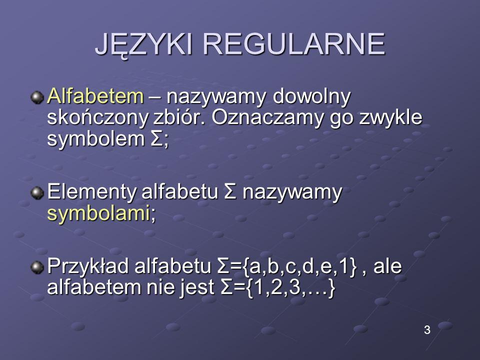 JĘZYKI REGULARNE Alfabetem – nazywamy dowolny skończony zbiór. Oznaczamy go zwykle symbolem Σ; Elementy alfabetu Σ nazywamy symbolami; Przykład alfabe