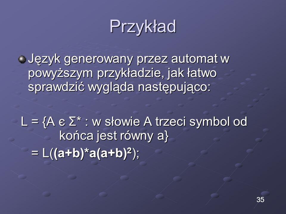 Przykład Język generowany przez automat w powyższym przykładzie, jak łatwo sprawdzić wygląda następująco: L = {A є Σ* : w słowie A trzeci symbol od ko