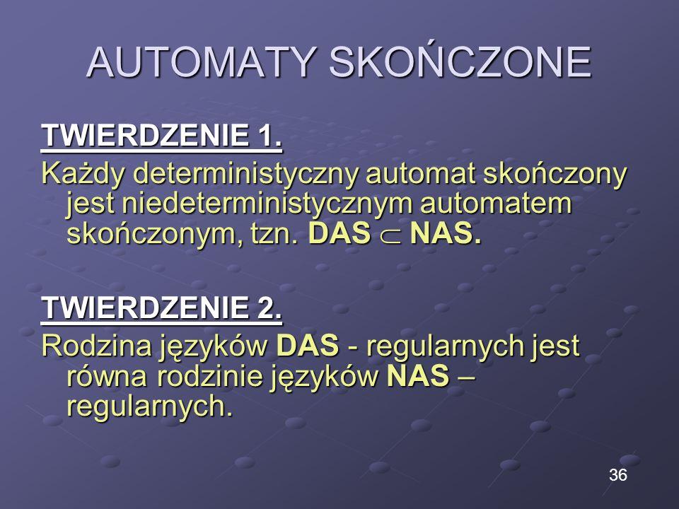 AUTOMATY SKOŃCZONE TWIERDZENIE 1. Każdy deterministyczny automat skończony jest niedeterministycznym automatem skończonym, tzn. DAS NAS. TWIERDZENIE 2