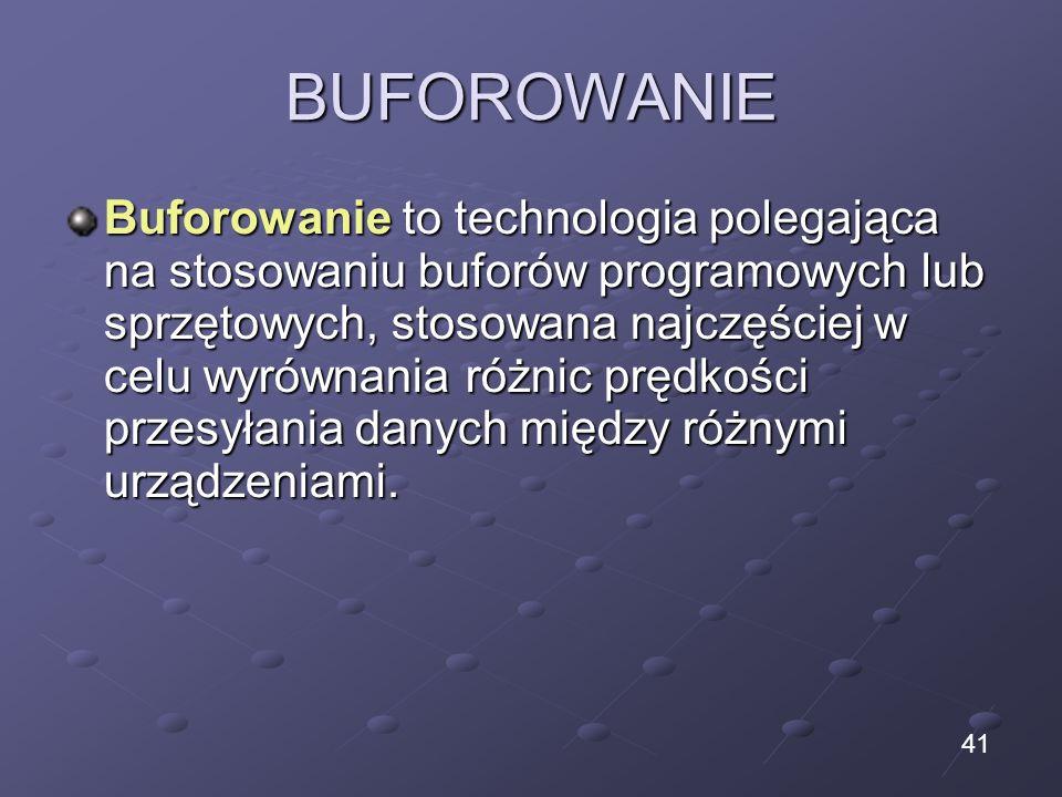 BUFOROWANIE Buforowanie to technologia polegająca na stosowaniu buforów programowych lub sprzętowych, stosowana najczęściej w celu wyrównania różnic p