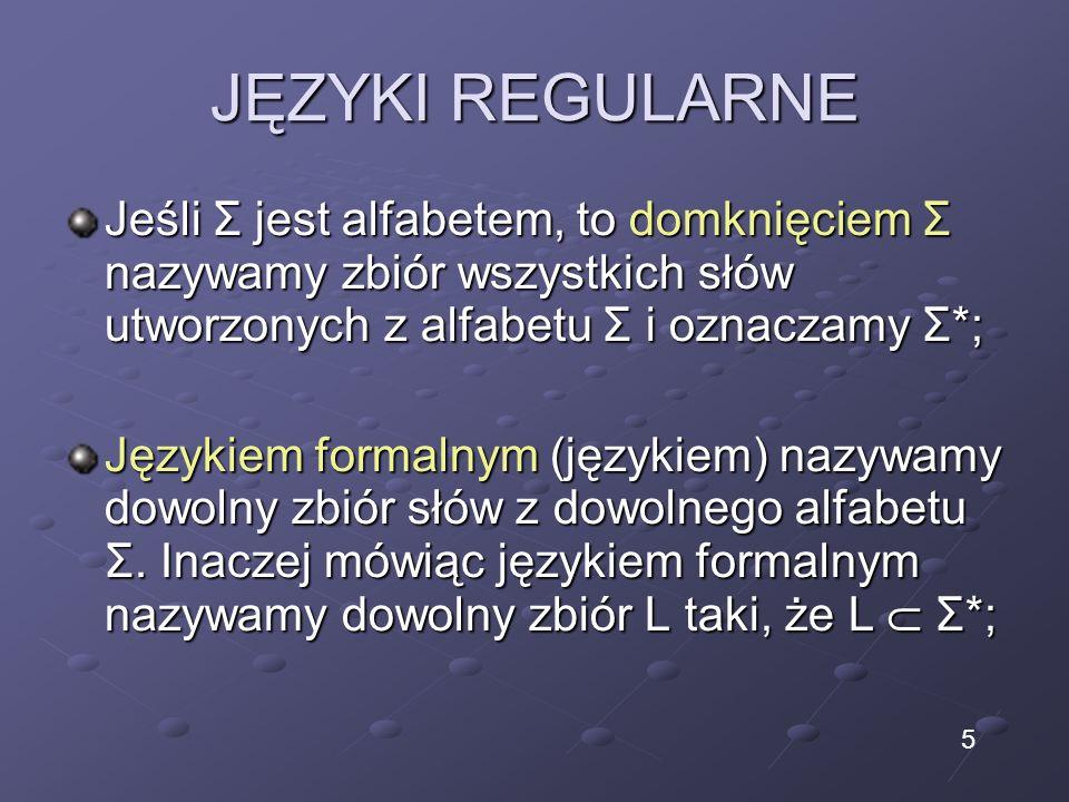 JĘZYKI REGULARNE Jeśli Σ jest alfabetem, to domknięciem Σ nazywamy zbiór wszystkich słów utworzonych z alfabetu Σ i oznaczamy Σ*; Językiem formalnym (