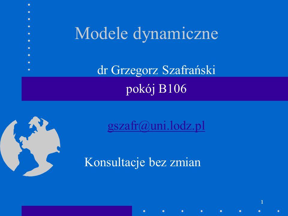 2 Modele dynamiczne Modele trendów deterministycznych Modele trendów stochastycznych proces błądzenia losowego random walk modele autoregresyjne (AR) modele z rozkładem opóźnień (DL) modele ARDL Nowa ekonometria (stacjonarność, modele korekty błędem, metodologia VAR, modele przestrzeni stanów, warunkowej wariancji ARCH i GARCH)