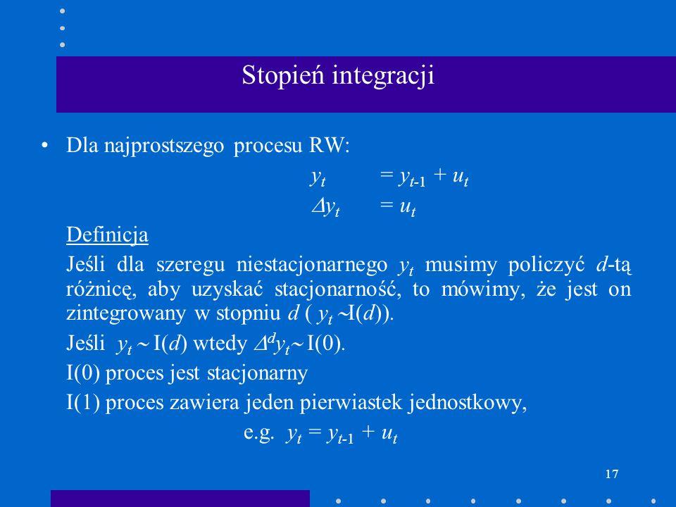 17 Stopień integracji Dla najprostszego procesu RW: y t = y t-1 + u t y t = u t Definicja Jeśli dla szeregu niestacjonarnego y t musimy policzyć d-tą