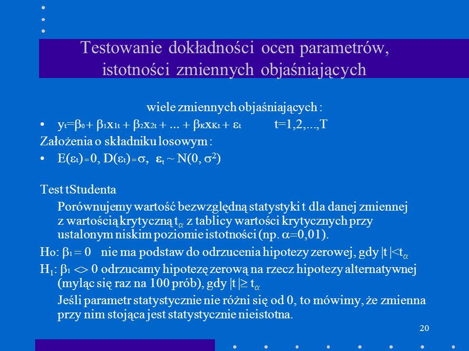 20 Testowanie dokładności ocen parametrów, istotności zmiennych objaśniających wiele zmiennych objaśniających : y t = 0 1 x 1t 2 x 2t K x Kt t t=1,2,.