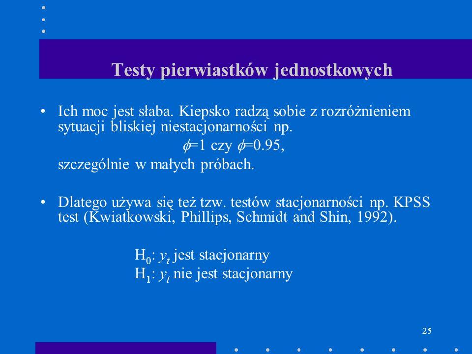 25 Testy pierwiastków jednostkowych Ich moc jest słaba. Kiepsko radzą sobie z rozróżnieniem sytuacji bliskiej niestacjonarności np. =1 czy =0.95, szcz