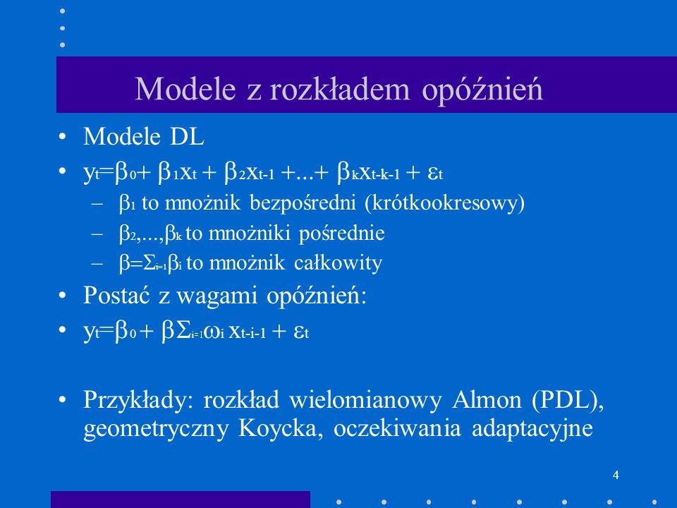 4 Modele z rozkładem opóźnień Modele DL y t = 0 1 x t 2 x t-1 k x t-k-1 t – 1 to mnożnik bezpośredni (krótkookresowy) – 2 k to mnożniki pośrednie – i