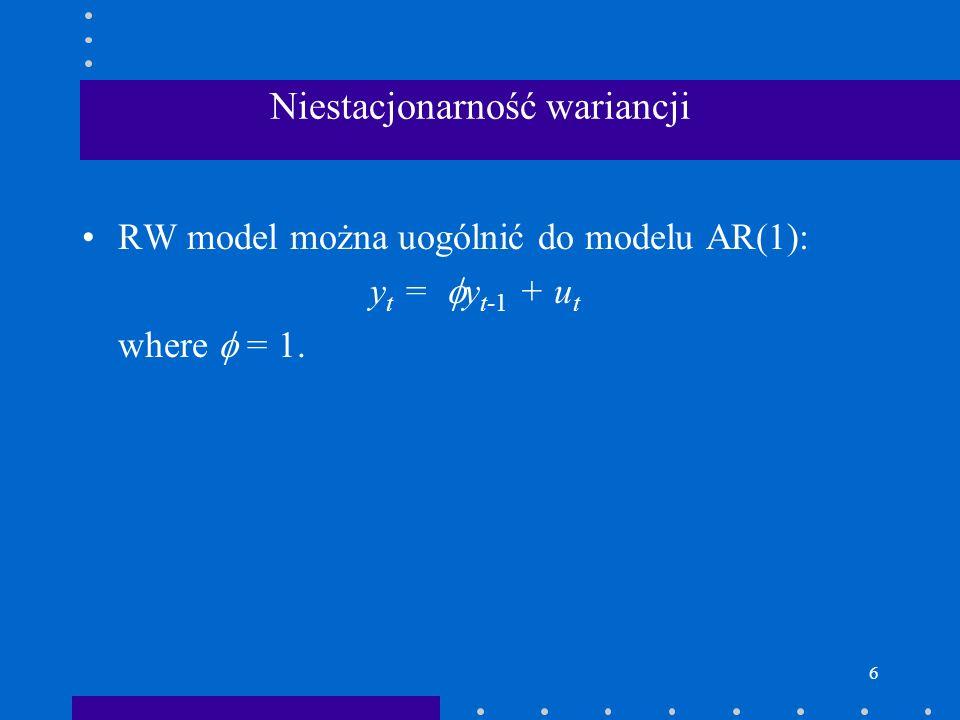 6 Niestacjonarność wariancji RW model można uogólnić do modelu AR(1): y t = y t-1 + u t where = 1.