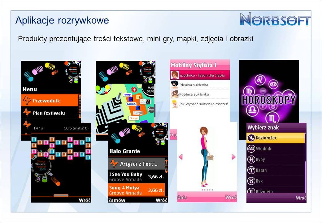 Aplikacje rozrywkowe Produkty prezentujące treści tekstowe, mini gry, mapki, zdjęcia i obrazki