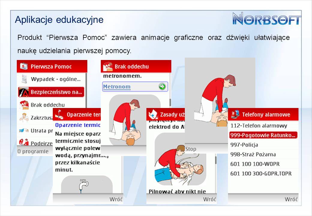 Aplikacje edukacyjne Produkt Pierwsza Pomoc zawiera animacje graficzne oraz dźwięki ułatwiające naukę udzielania pierwszej pomocy.