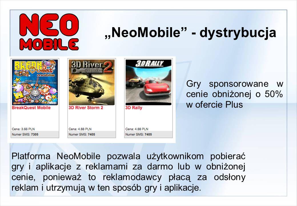 Platforma NeoMobile pozwala użytkownikom pobierać gry i aplikacje z reklamami za darmo lub w obniżonej cenie, ponieważ to reklamodawcy płacą za odsłony reklam i utrzymują w ten sposób gry i aplikacje.
