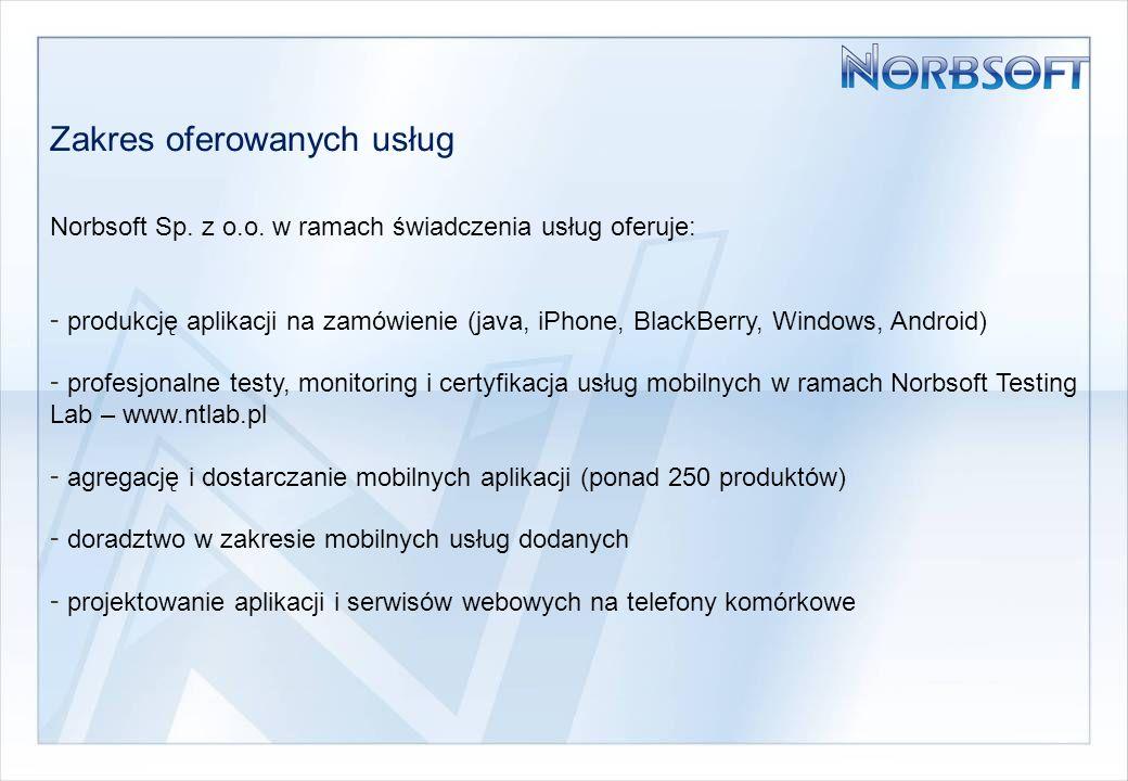 Zakres oferowanych usług Norbsoft Sp. z o.o.