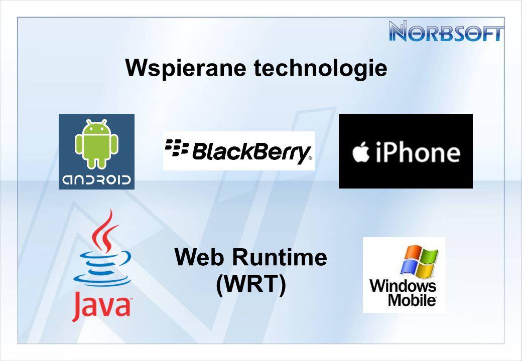 Wspierane technologie Web Runtime (WRT)