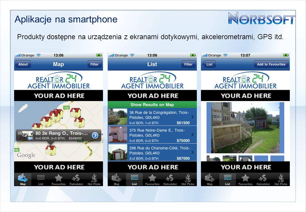 Aplikacje na smartphone Produkty dostępne na urządzenia z ekranami dotykowymi, akcelerometrami, GPS itd.